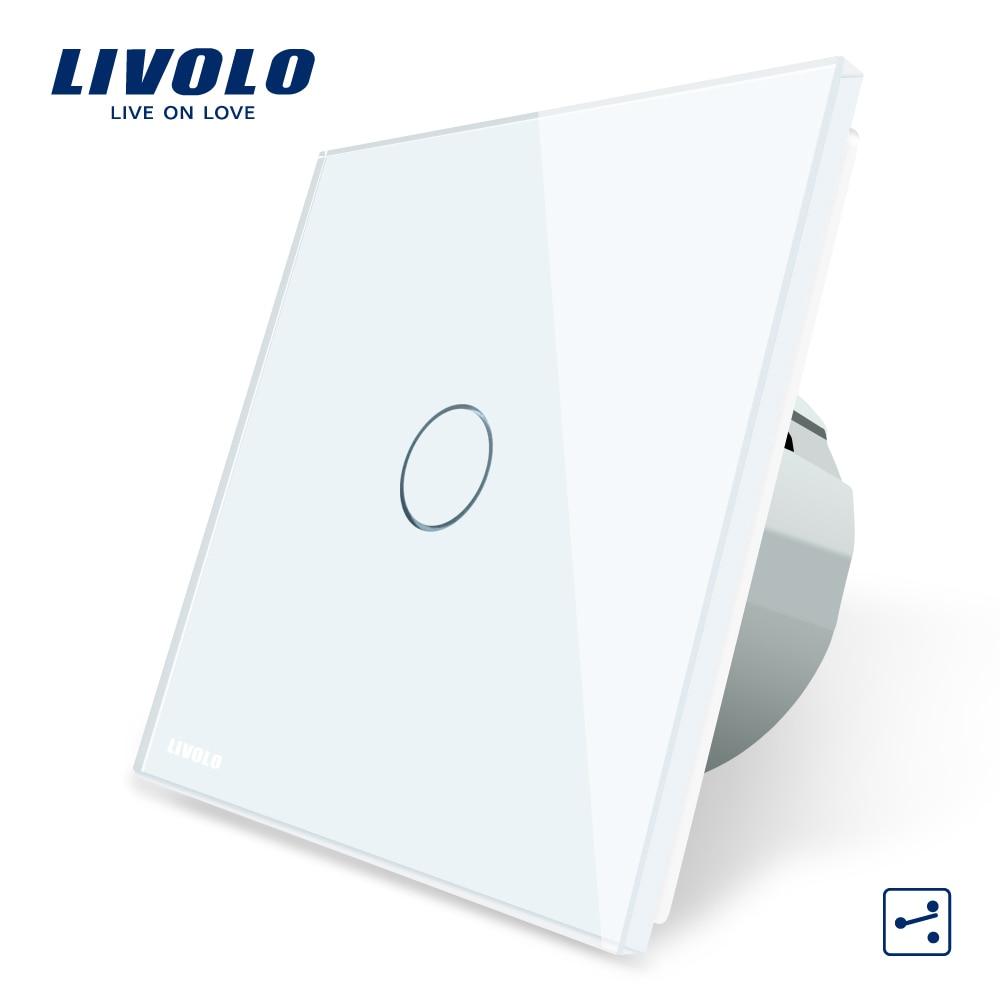 Livolo EU Standaard Wandschakelaar 2 Manier Controle Touch Screen Switch, Crystal Glass Panel, 220-250 v, VL-C701S-1/2/3/5