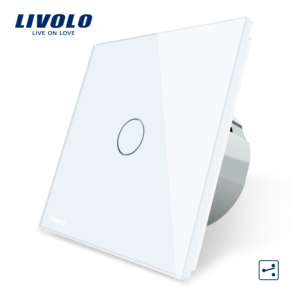 Free Shipping Livolo EU Standard 2 Way Control Switch White Crystal Glass Panel Wall Light Touch