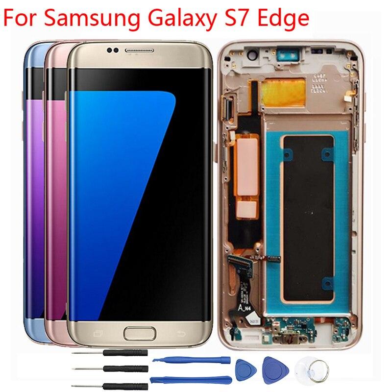 S7 Bord LCD Cadre Pour Samsung Galaxy S7 Bord Affichage LCD G935 G935F LCD Affichage à L'écran Tactile Digitizer Assemblée Origine pièces