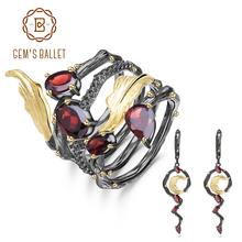 GEM'S BALLET 3.95Ct Natural Red Garnet Earrings Ring Sets 100%925 Sterling Silver Vintage Gemstone Jewelry Set For Women Wedding