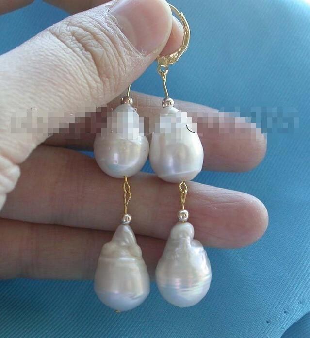 Genuine Natural 19mm White reborn keshi Pearl Earrings Dangle 14KGP #f1559! цена