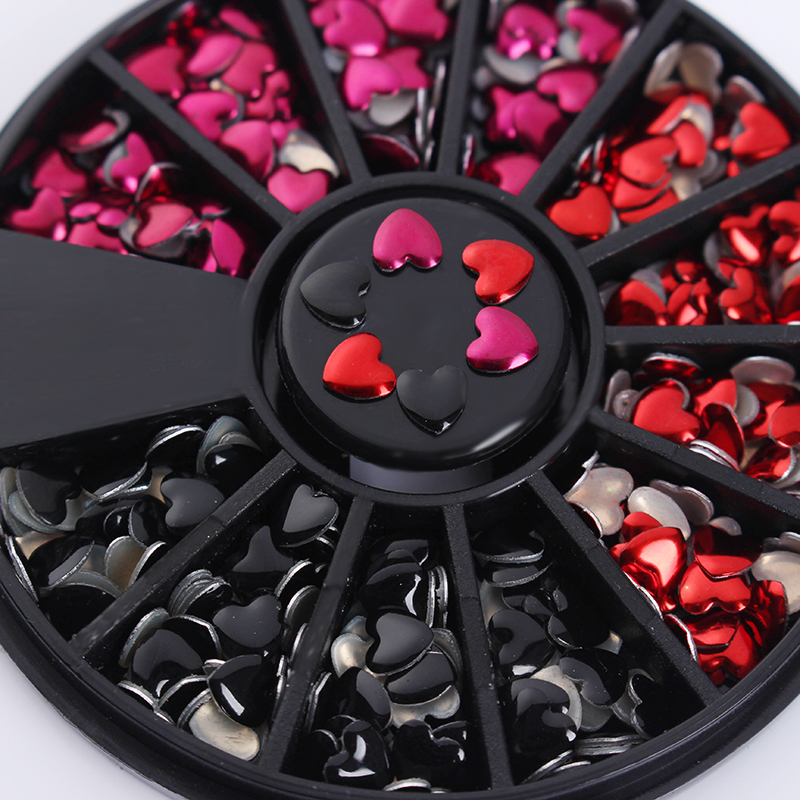 1 Box Mixed Color Heart Rivet Studs Rhinestones 3D Nail Decoration Love Design Manicure DIY Nail Art Tips Decoration in Wheel 12 boxes gold rivet nail studs round star heart triangle oval rhinestone manicure nail art decoration
