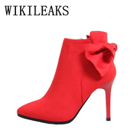 High Quality Flock High Heels Shoes Woman Short Ankle Boots Bow Platform Pumps Italian Euros Designer