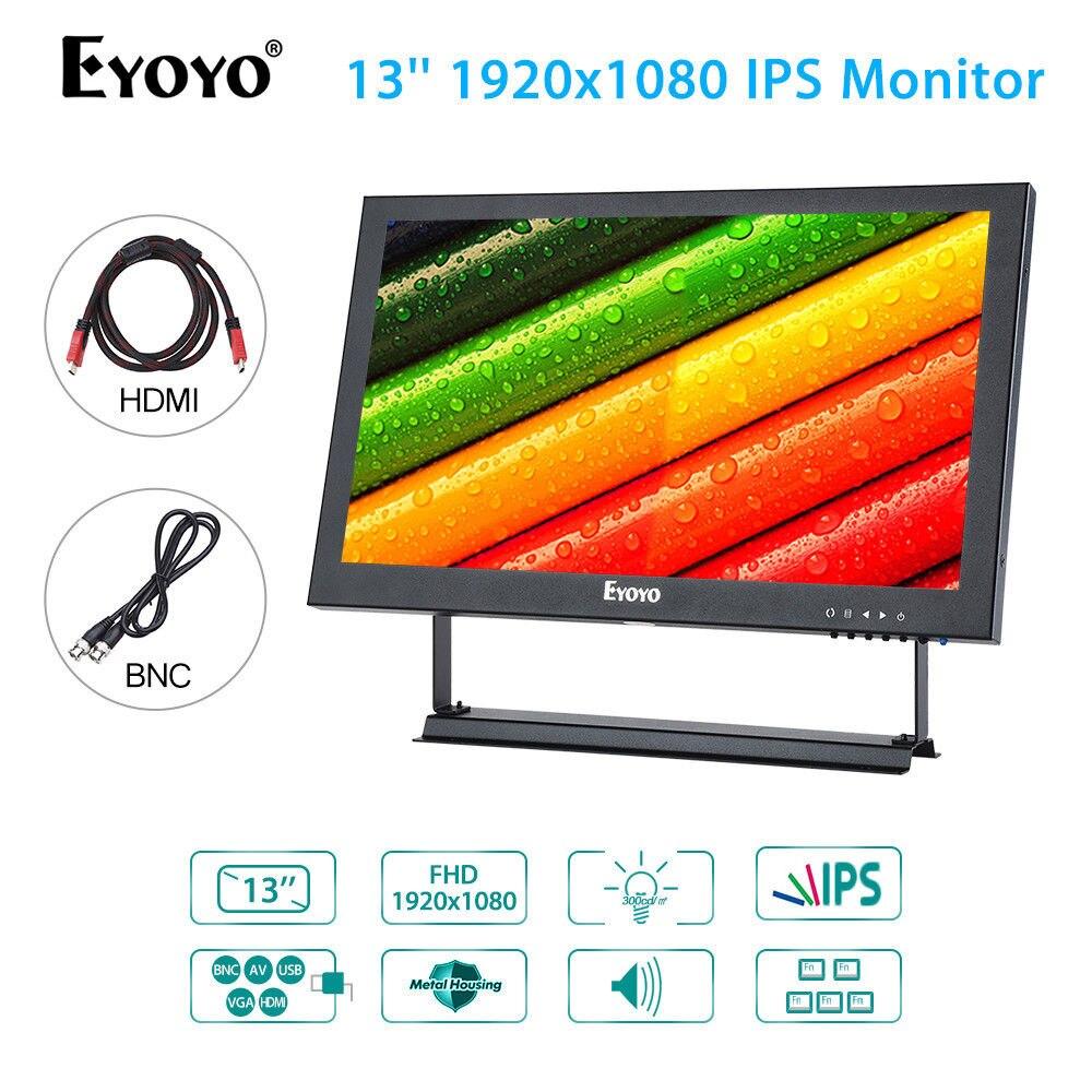 EYOYO 13 ''1920x1080 affichage vidéo Audio VGA BNC HDMI w/haut-parleur moniteur en métal Hosing pour CCTV DVD PC ordinateur portable DVR CCD caméra