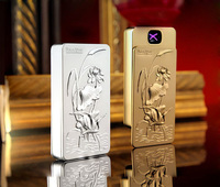 Double arc electric lighter new surface relief cranes USB charge environment friendly windproof cigarette lighter