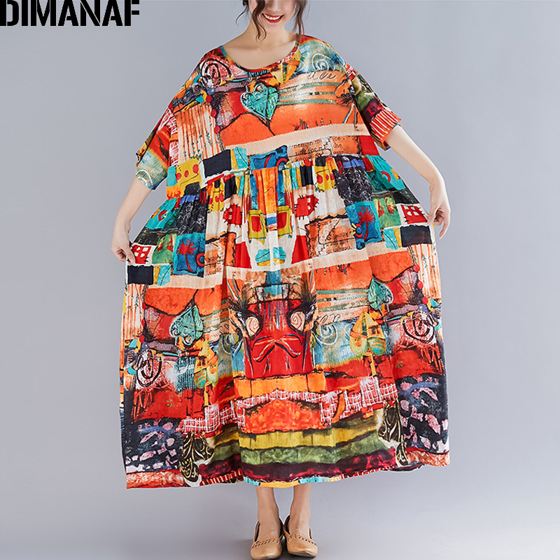 DIMANAF Plus Size Women Print Dress Summer Sundress Cotton Female Lady Vestidos Loose Casual Holiday Maxi Dress Big Size 5XL 6XL 1