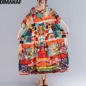 Image 2 - DIMANAF プラスサイズの女性プリントドレス夏のサンドレス綿女性 Vestidos ゆるいカジュアルな休日マキシドレスビッグサイズ 5XL 6XL