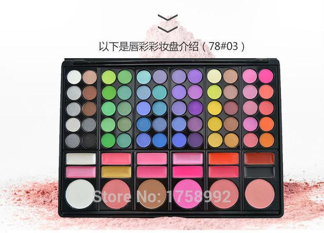 78 cores de maquiagem Set paleta de maquiagem moda cosméticos Multi - função Eyeshadow Lip Gloss Blush maquiagem paleta de sombra