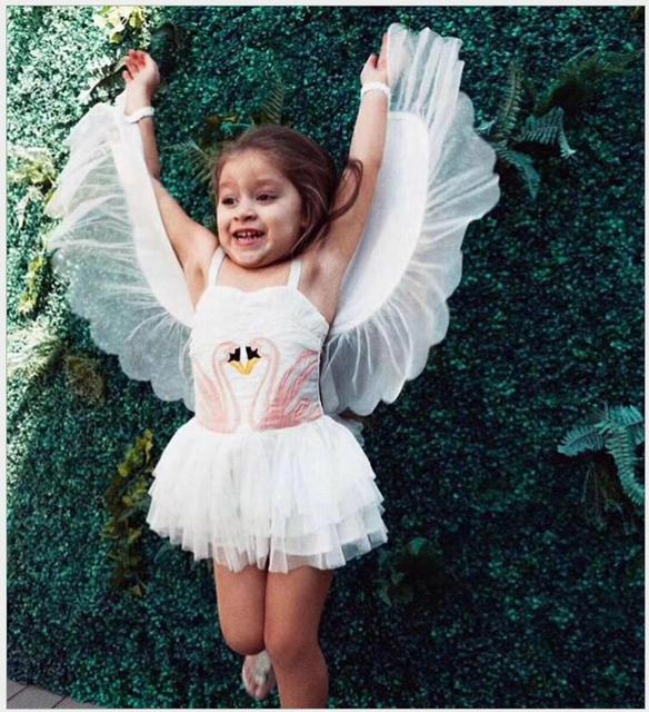 ef36990b855a Flamingo dress Tutu and top dance clothes for girl baby angel dress Cotton  cartoon Removable Angel wings birthday girls dress