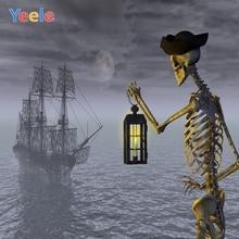Yeele Happy Halloween Party Photography Background Skeleton Sea Boat Photographic Backdrop Customized Photocall For Photo Studio allenjoy scenery photo backdrop wood board blue calm sea water scape clouds photocall background for photographic studio