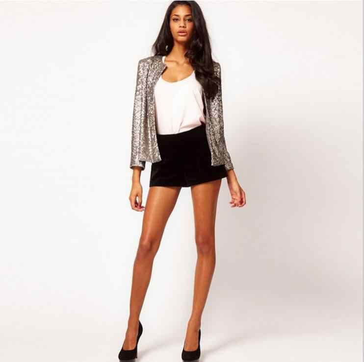 f309c6e41d Women New Glitter Blazer Open Style Female Coats Full Sleeve European Style  OL Sequined Blazers Bling Cloth Outerwear Black 2XL