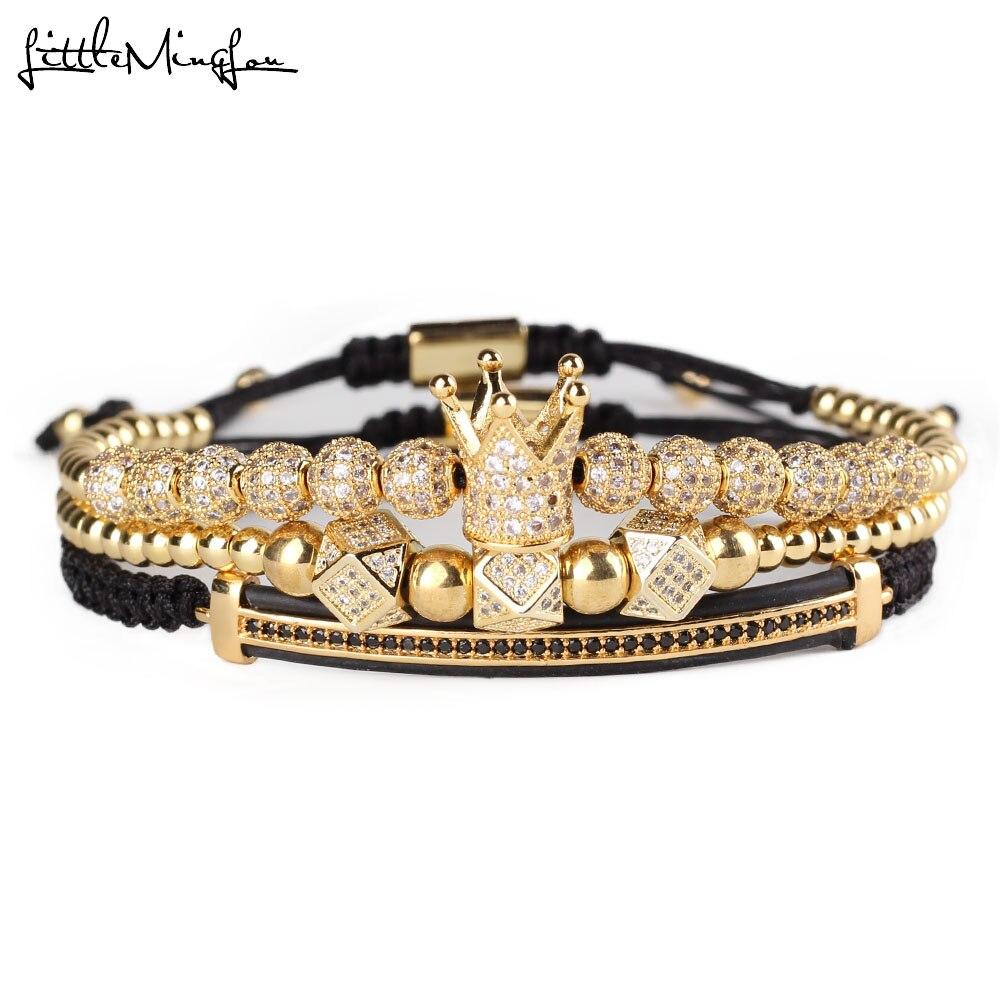 3 pz/set di Lusso CZ poligono sfera corona di Fascino del rame del Macrame Del branello degli uomini fatti a mano Bracciali set bracciali e braccialetti per Gli Uomini gioielli