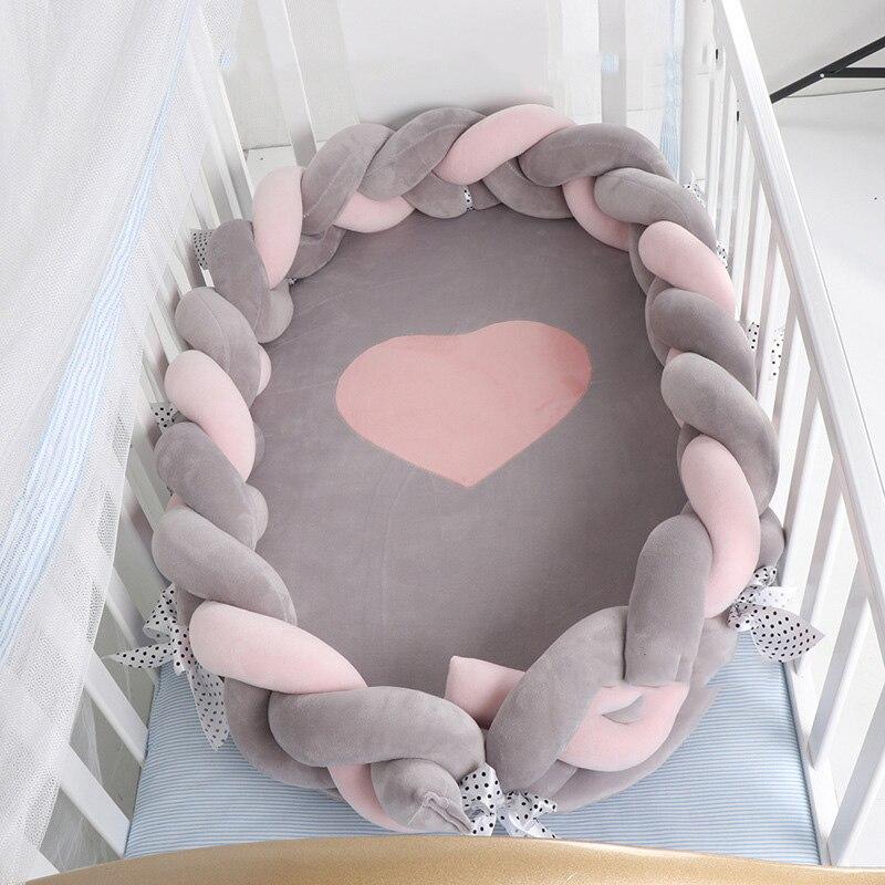 80*50cm Portable coton bébé Bionic lit pliable nouveau-né bébé berceau nid lit berceau amovible infantile lit de voyage avec pare-chocs