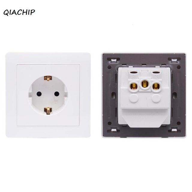 QIACHIP AC 110V 220V 16A Power Socket Switch White Crystal Glass ...