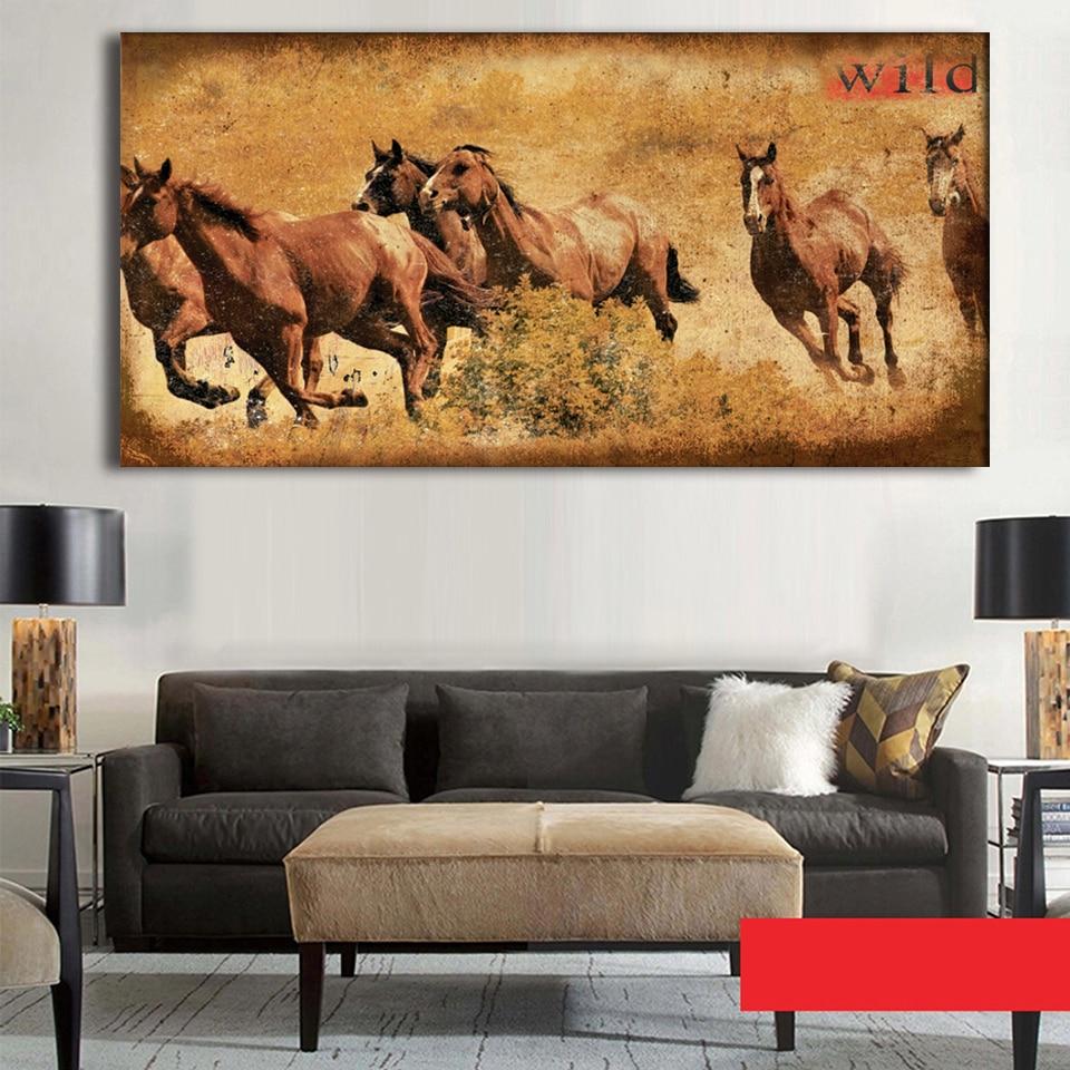 CANVAS Herd of Wild Horses Running on Prairie Art print POSTER