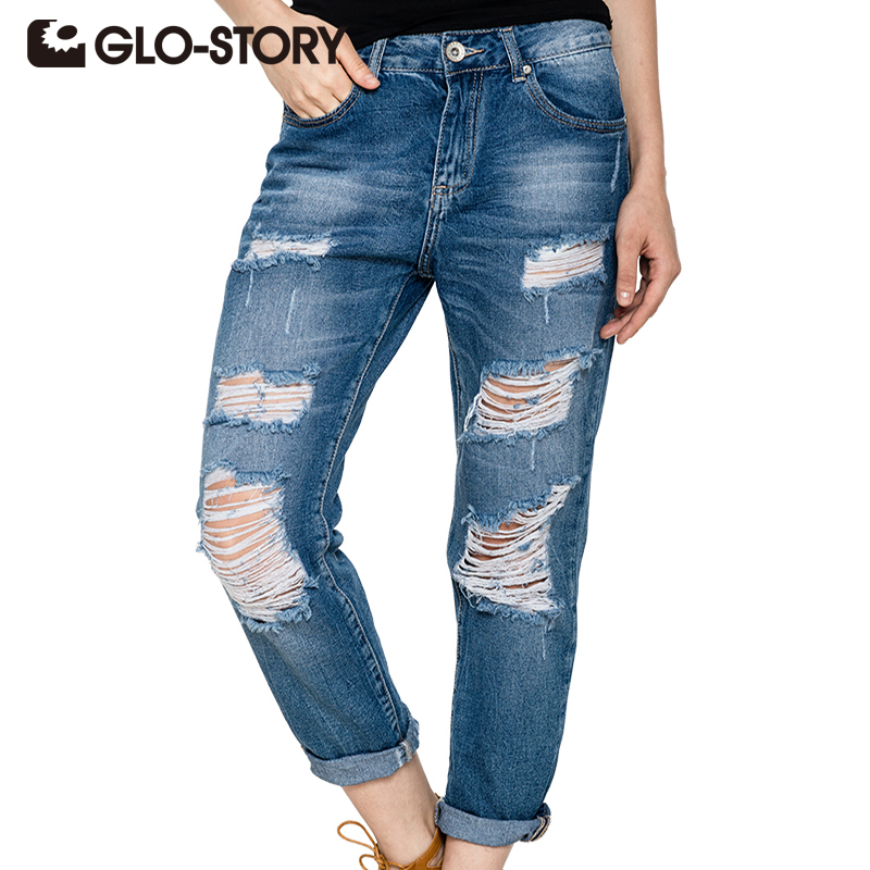 GLO-STORY Hög midja Jeans Woman 2018 American Apparel Hole Women Jeans Street Style Fashion Pants Torn Denim WNK-2114