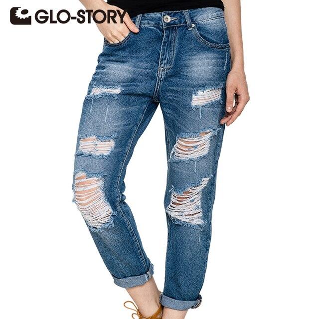 e086b7835ef0 GLO-STORY Taille Haute Jeans Femme 2018 American Apparel Trou Jeans pour  femmes Street Style