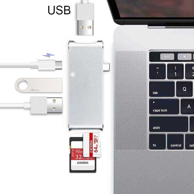 USB3.1 Type-C HUB Multi-port Hub Adapter With 1* USB3.0 +2*3.0 USB2.0+ SD TF Micro SD Card Reader +Charging for Mackbook HP DELL multi functional usb hub controller charger sd tf ms duo card reader for ps3 slim black