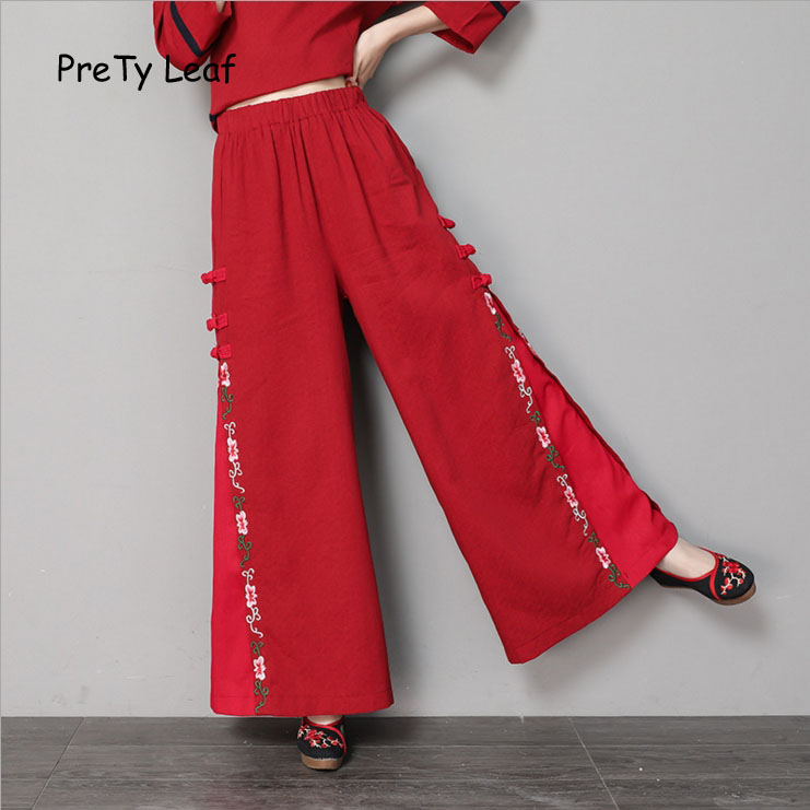 2018 spring and summer national wind cotton embroidery   wide     leg     pants