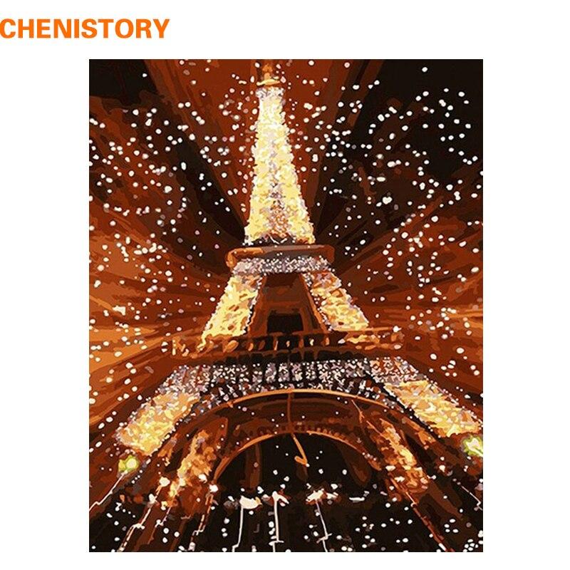 CHENISTORY Paesaggio Torre Eiffel Pittura di DIY Dai Numeri Dipinto A Mano Pittura Ad Olio Pittura Acrilica Su Tela di Canapa Per La Decorazione Domestica