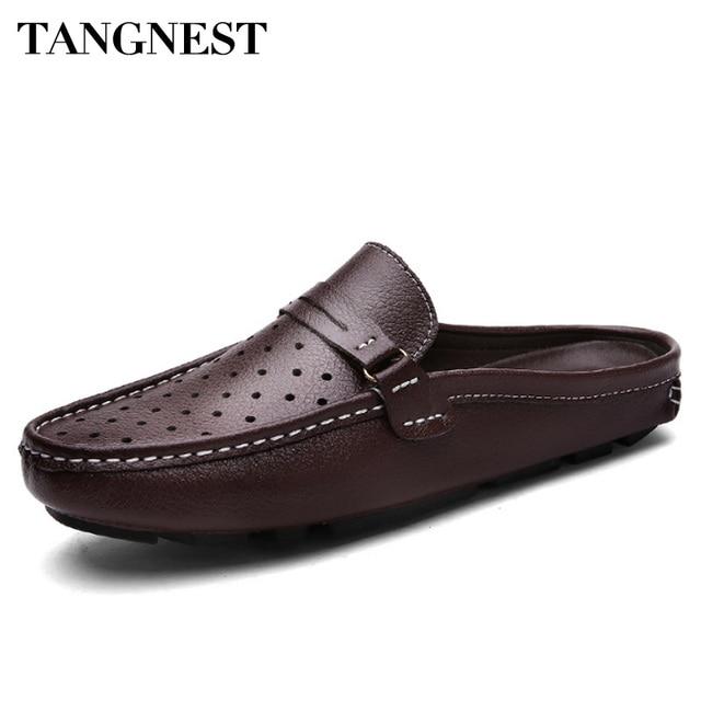 04b5ab11c2 Tangnest Homens Genuínos Mocassins de Couro de Verão Respirável Dos Homens  Preguiçosos Sapatos Casuais Escavar Apartamentos