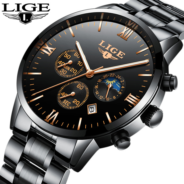LIGE Mens Watches Top Brand Luxury Waterproof 24 hour Date Quartz Watch Man Full Steel Sports Wrist Watch Men Waterproof Clock 2017 luxury brand binger date genuine steel strap waterproof casual quartz watches men sports wrist watch male luminous clock