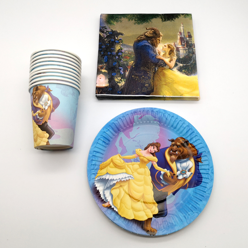60pcs/lot Happy Birthday Party Decorate Beauty and Beast Design food grade Paper Plates Cups Baby Shower Girls Favors Napkins