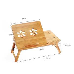 Image 5 - Bamboo Laptop Table Adjustable Computer Desk For Sofa Bed Folding Portable Laptop Table With Cooling Fan Notebook Stand Table