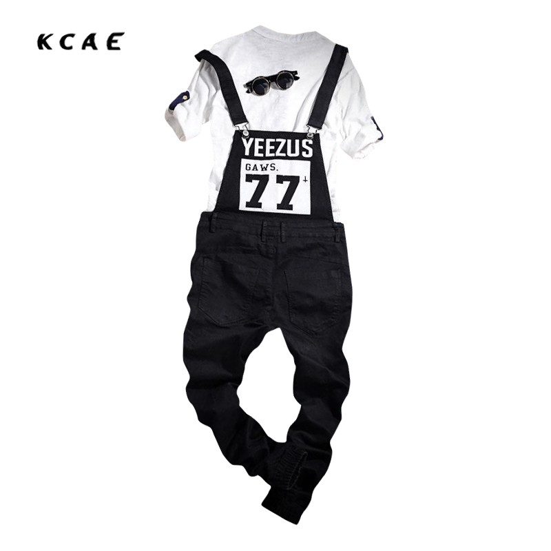 2017 New Mens Fashion Printing Denim Overalls For Juniors Black Vintage Denim Bib Overalls Pants Ankle Length Jeans Size S-4XL stoosh new turquoise juniors geo print soft pants s $39 dbfl