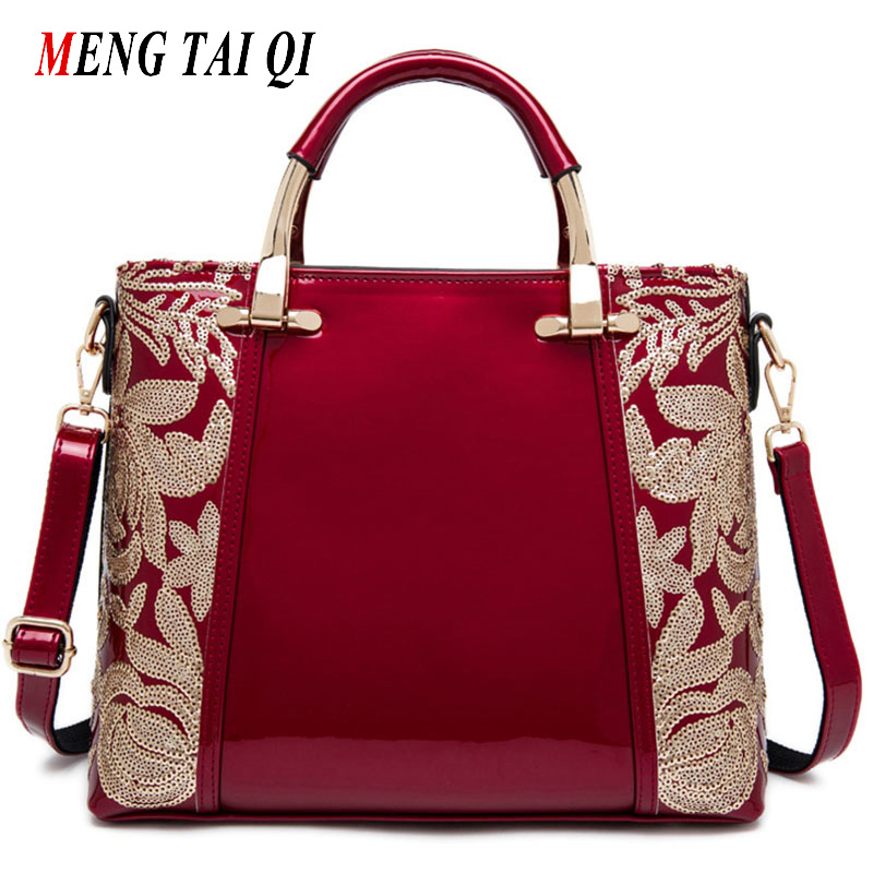 Women Bags 2017 Fashion Sequins Flower Famous Brand Shoulder Bag Women Messenger Bags Designer Handbags Leather Ladies Totes 5