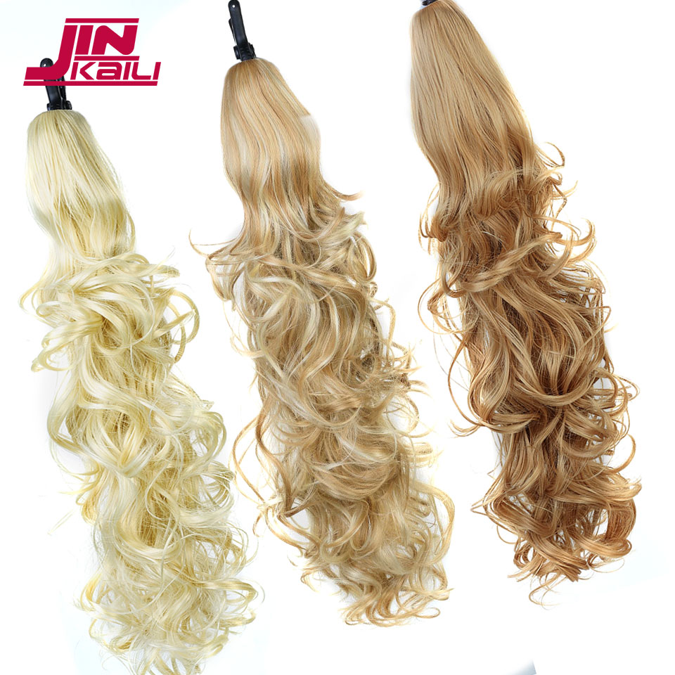 JINKAILI Long Lady Girl Wavy Ponytail Wigs Pony Hair Hairpiece Extension synthetic claw on hair ponytails hairpieces