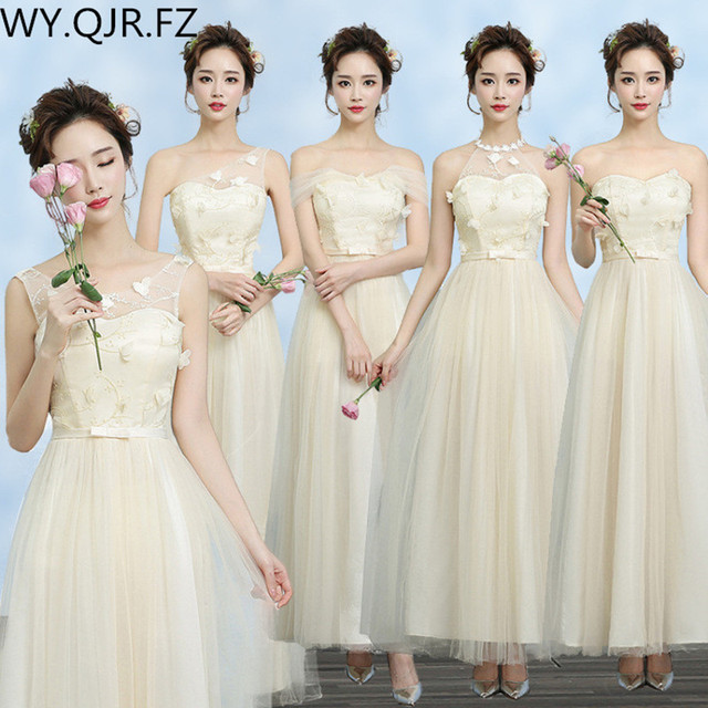 Zx A48xb New Spring Summer 2017 Champagne Long Bridesmaid Dresses Bride Toast Wedding Party