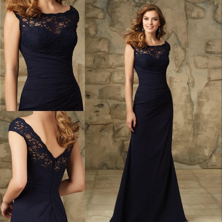 2017 Elegant Lace Top Evening Dresses Dark Navy Chiffon Prom Gowns ...