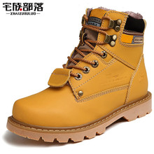 ZHAIZUBULUO Unisex Winter Warm Fur Snow Boots Cowhide Leather Outdoor Walking Boots Platform Motorcycle Boots With Logo