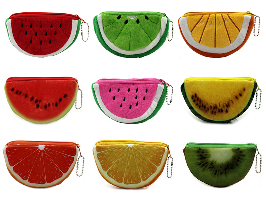 XYDYY Kawaii Fruits Plush Coin Purse Children Zip Small Change Purse Wallet Women Pouch Money Bag Girl Mini  Coin Holder Wallet kawaii fresh summer fruits banana