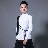 Ballroom Dance Shirt For Men White Long Sleeve Latin Top Competition Performance Samba Dancing Clothes Practice Wear DNV10792