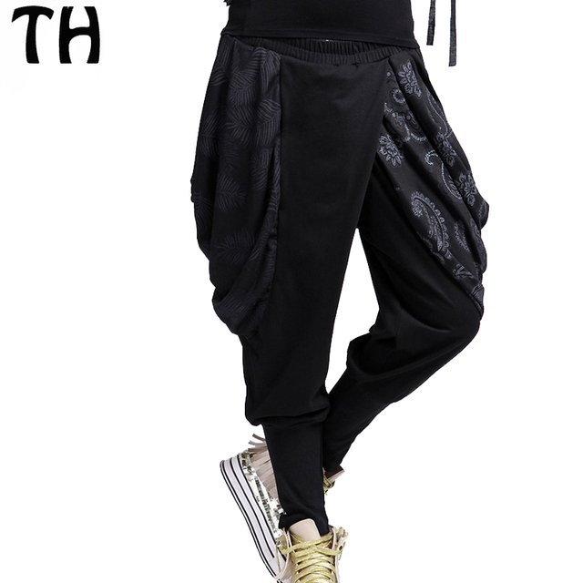 2016 Personality Pocket Patchwork Print Loose Harem Pants Women Cool Hip Hop Pants Pantalones Mujer #160925