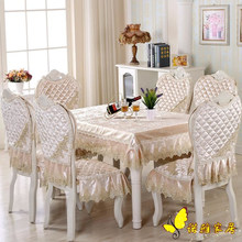 Hot Sale round dining table cloth chair covers cushion tables and chairs bundle chair cover rustic lace cloth set tablecloths(China)