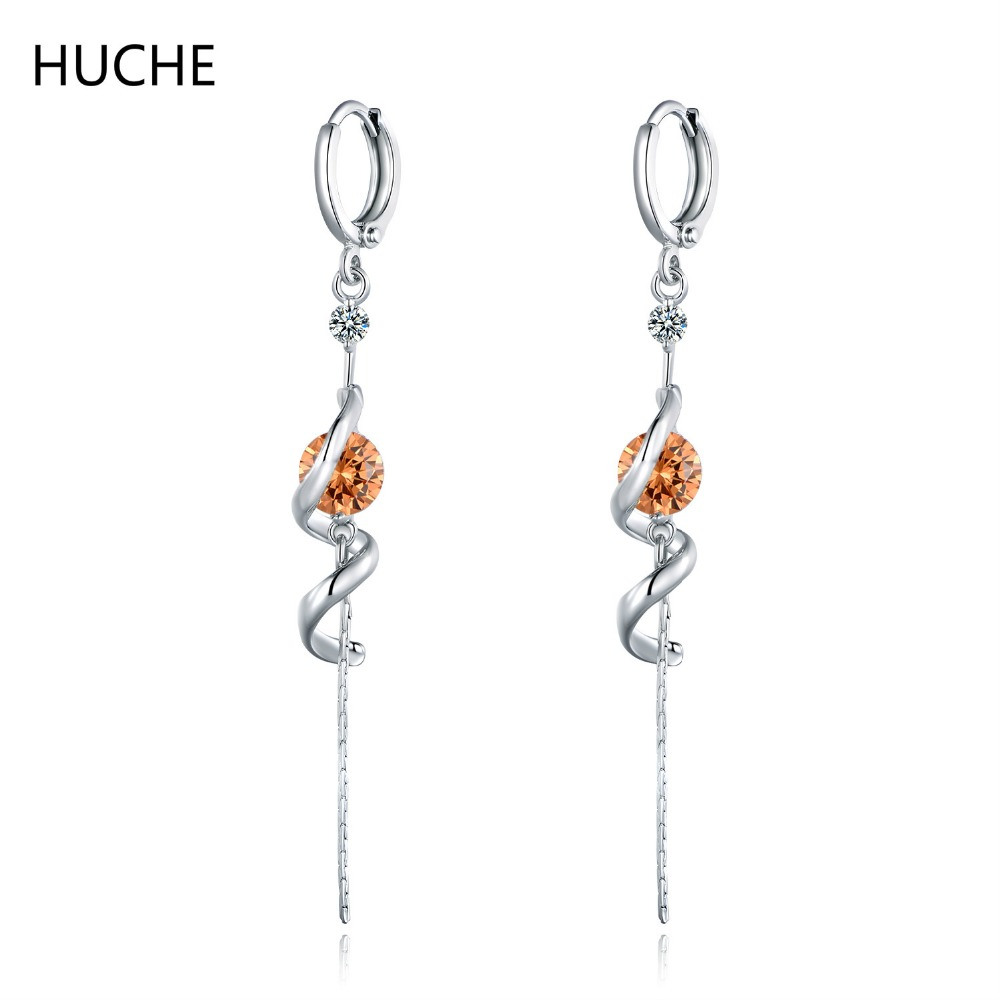 HUCHE 2017 New Arrived Long Girls White Silver Color Dangle Long Earrings for Women 4 Colors Stone Jewelry Accessary Gift E043