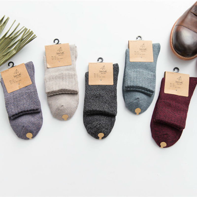 Autumn and winter new warm personality pure color in the tube cotton business men socks brand high fashion casual cotton socks