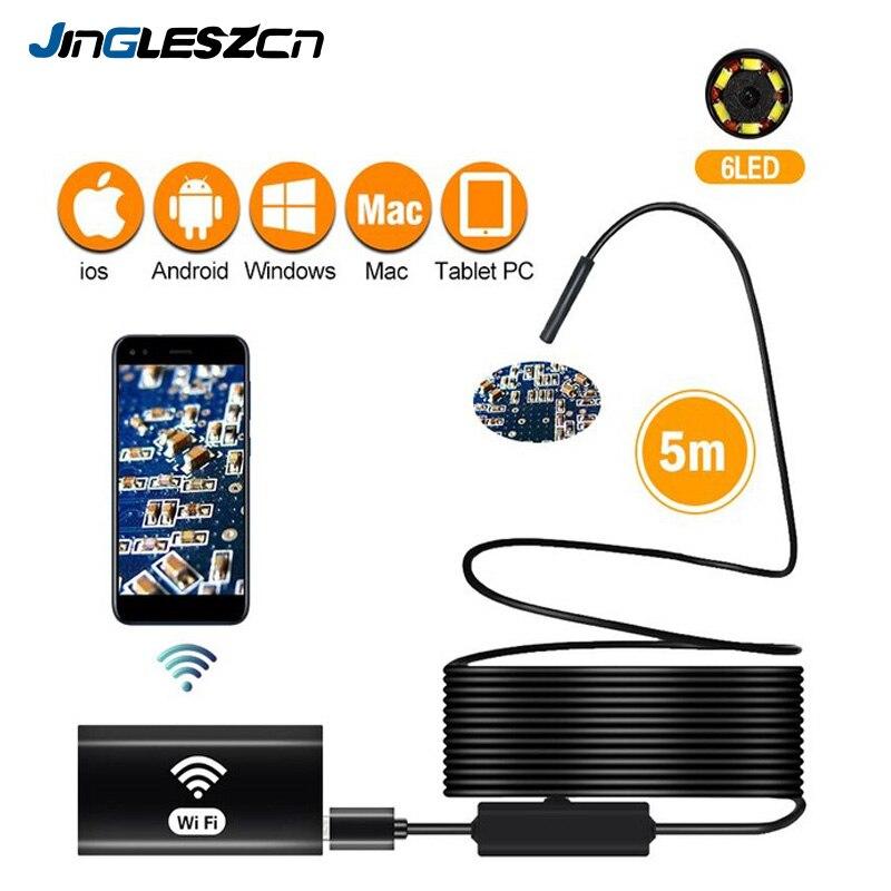 Беспроводной Эндоскоп камеры «рыбий глаз» 8 мм 720P/1200P HD камера с тросиком IP67 Водонепроницаемый эндоскоп для iPhone Android смартфон Настольный Ipad П...