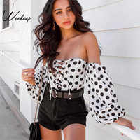 Weekeep Women Sexy Strapless Long Sleeve Backless Bodysuit White Dot High Street Body Women Spring Summer Fashion Bodysuits