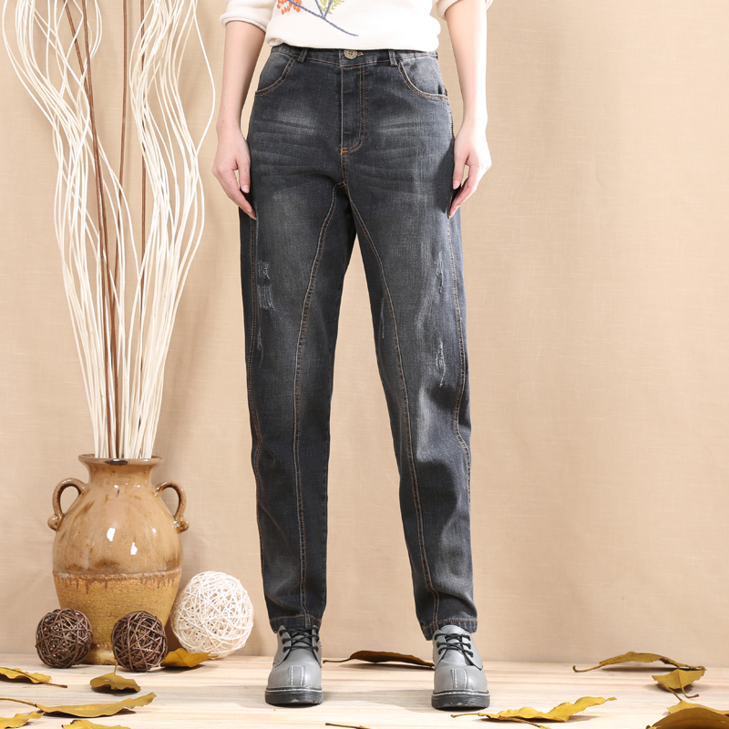 Harem pants for women plus size 96%cotton denim jeans casual spring autumn new fashion bloomer pants high waist blue jln0711 plus size pants the spring new jeans pants suspenders ladies denim trousers elastic braces bib overalls for women dungarees