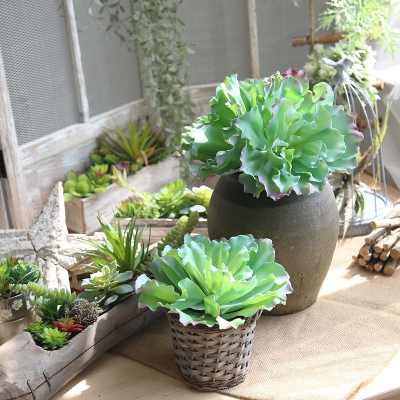 Artificial Plants Rounded Lotus Succulent with Bud Meaty Plant Simulation Potted Landscape Artificial Flower for Home Decoration
