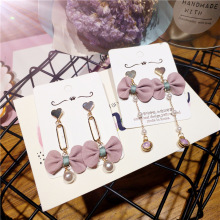 Korea Handmade Cute Alloy Heart Imitation Pearl Fabric Bowknot Women Drop Earring Fashion Jewelry Accessories-JQD5