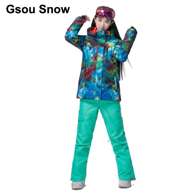 Prix pour Gsou Snow Femmes Thermique Coloré Graffiti Ski Costume Étanche Snowboard bleu Veste Hiver chaud costume Sport costumes complets 1798-082
