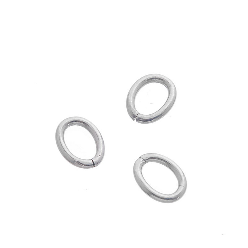 LASPERAL 100PCs Stainless Steel Oval Open Jump Rings Split Ring For Jewelry Making Hand Made Craft DIY Bright Silver Tone 6x8mm