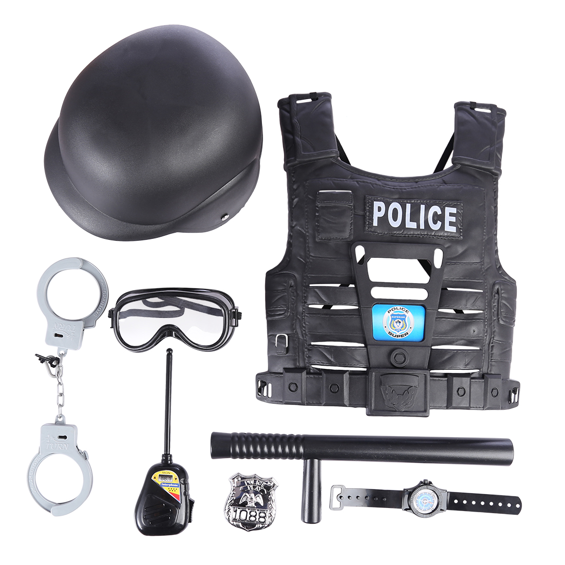 8/9/11 Pcs Police Suit For Chlidren's Policeman Cosplay Policeman Costume With Helmet Goggles Police Officer Wear For Kids