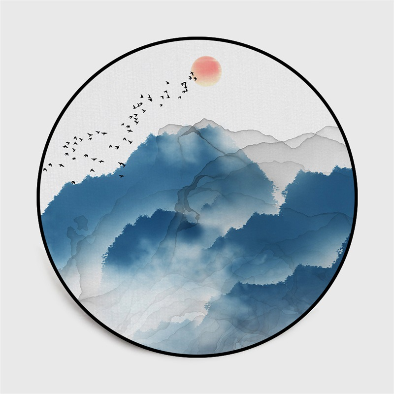 Image 3 - Chinese classical style abstract blue Mountain ink painting  carpet Bedroom living room round floor mat non slip rug custom madeMat