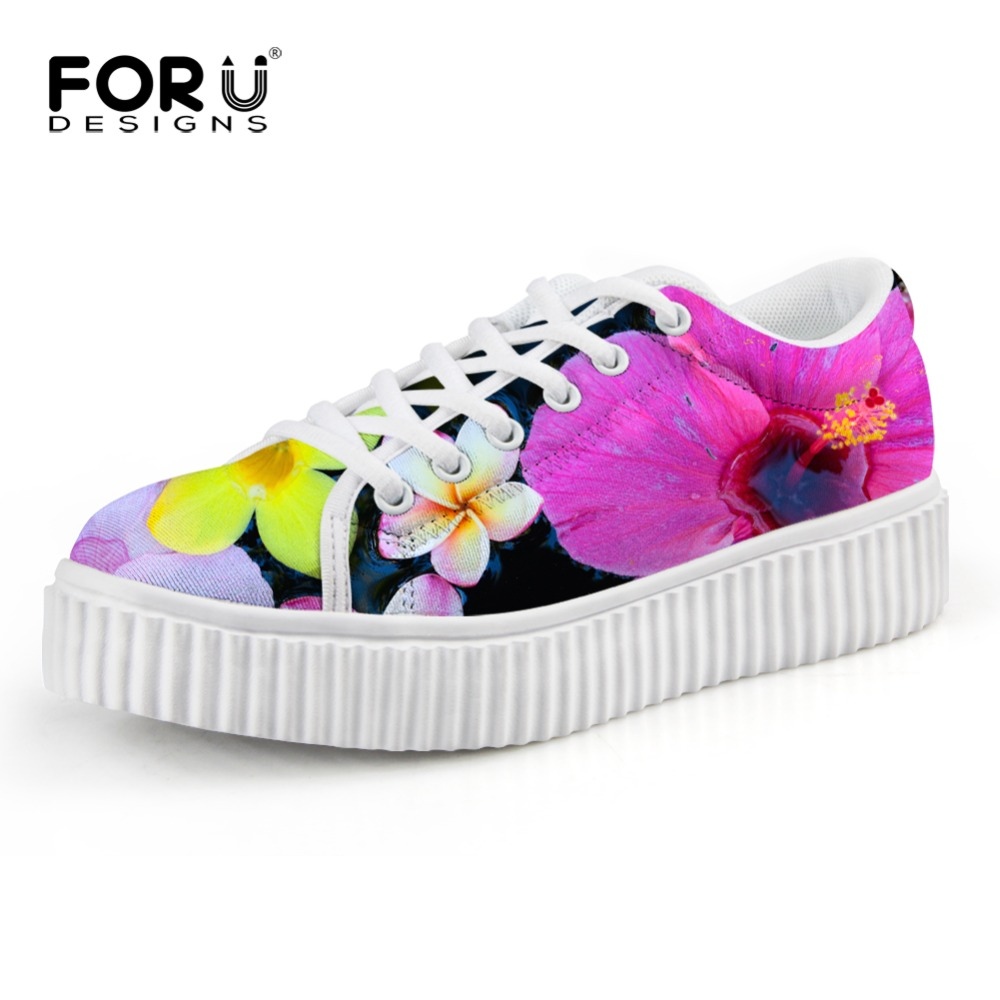 FORUDESIGNS New Fashion Oxford Shoes for Women Floral Print Creepers Flat Shoes Woman Creeper Flats shoes Ladies Loafers Shoes